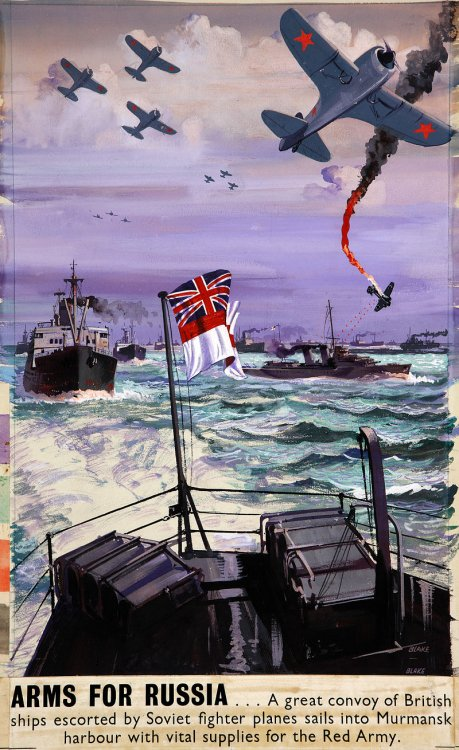 800px-INF3-130_War_Effort_Arms_for_Russia_-_a_great_convoy_sails_into_Murmansk_Artist_Blake.jpg
